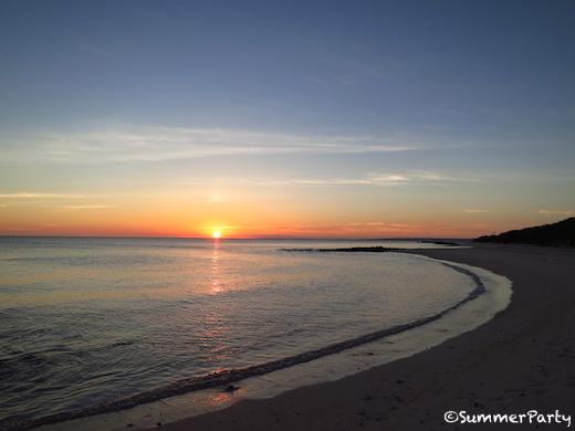 前浜ビーチからの夕陽