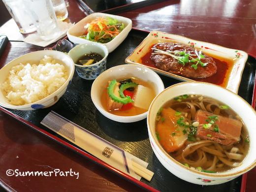 宮古島 ガーデンレストランシギラ ハンバーグそば定食