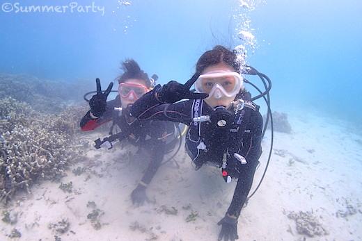 宮古島で体験ダイビング 余裕のVサイン