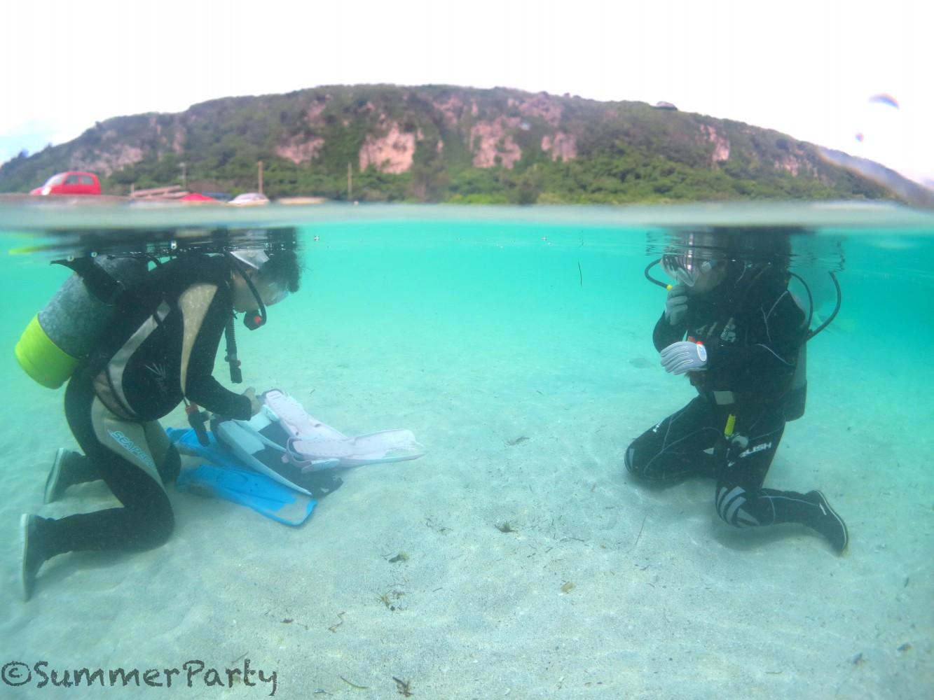 宮古島で体験ダイビング ビーチで呼吸の練習